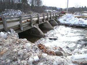 ice dam under bridge