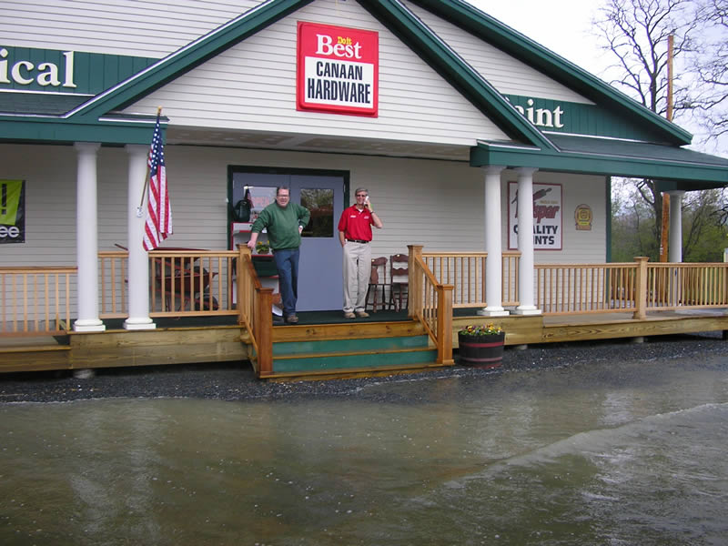 flooding up to hardware store steps