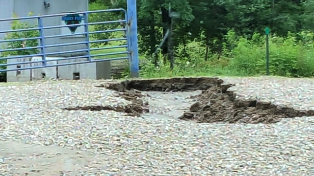 hole in gravel road