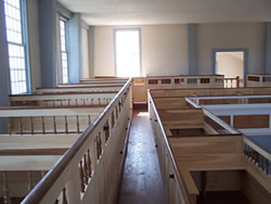 restored meeting house pew boxes
