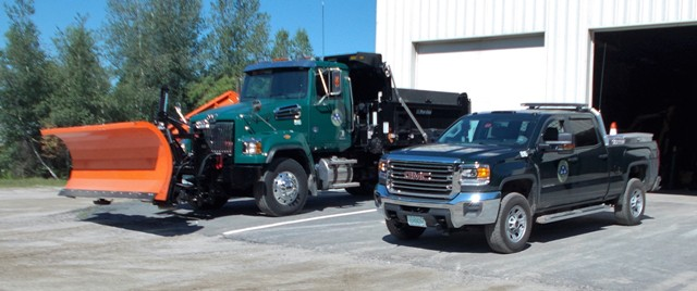pick up truck and plow truck