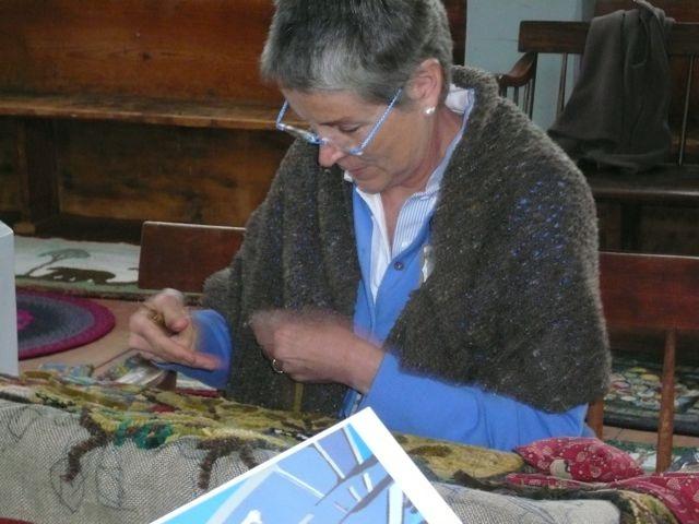 rug hooking in progress