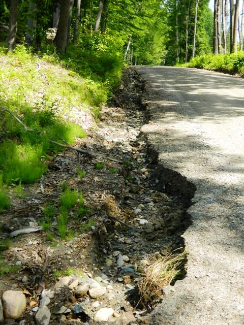 eroded ditch cutting through road